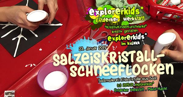 Salzeiskristallschneeflocken Salzmalerei: Eiskristalle aus Salz . explorerkids* . Entdecker Werkstatt im kujakk