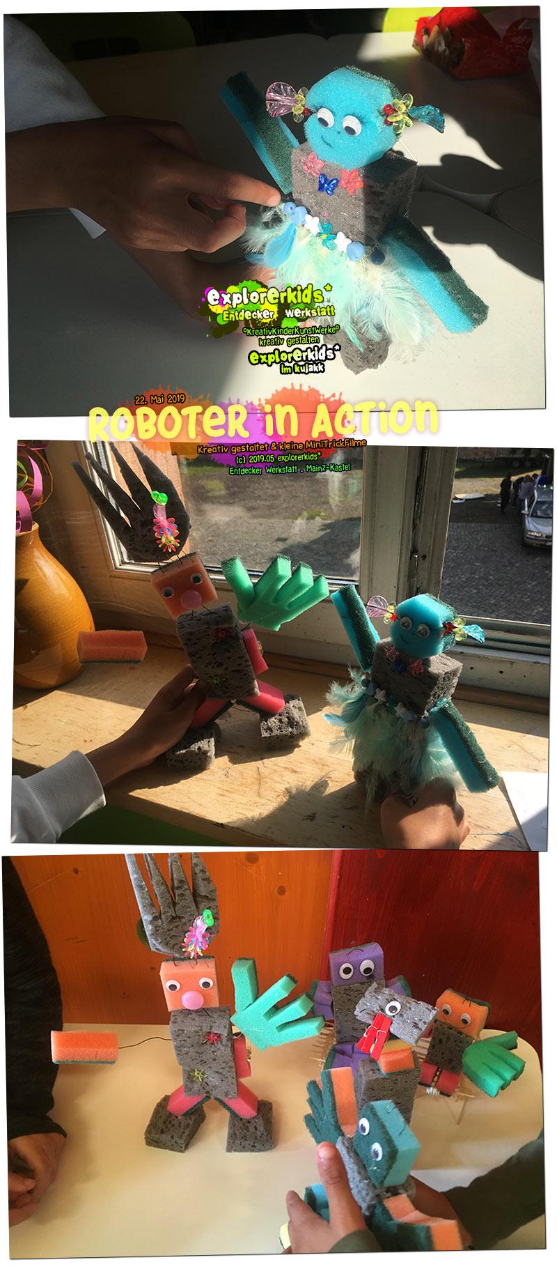 Roboter in Action . Kreativ gestaltet & kleine MiniTrickFilme . explorerkids* . Entdecker Werkstatt im kujakk