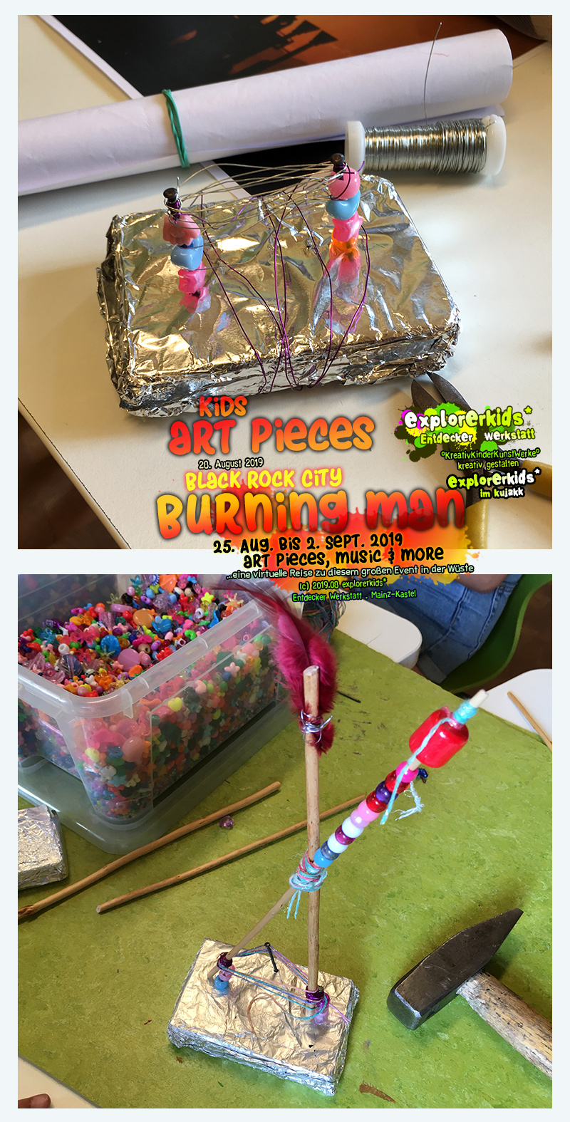 kids art pieces . Black Rock City . Burning Man . 25. August bis 2. September 2019 . art pieces, music & more . explorerkids* . Entdecker Werkstatt im kujakk . Kinder- und Jugendzentrum in der Reduit . Mainz-Kastel
