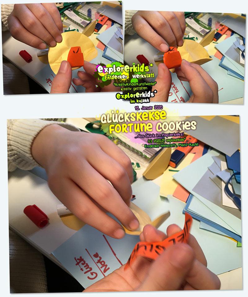 Glückskekse . Fortune Cookies . ...das Glück im Papierkeks . 15. Januar 2020 . explorerkids* . Entdecker Werkstatt im kujakk . Kinder- und Jugendzentrum in der Reduit . Mainz-Kastel