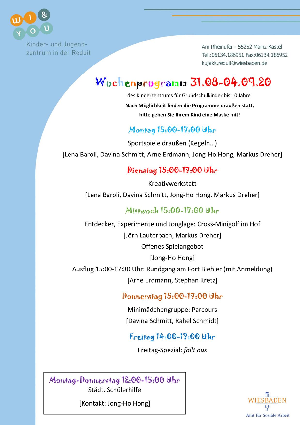 Wochenprogramm vom 24. bis 28. August 2020 des Kinderzentrums für Grundschulkinder bis 10 Jahre . kujakk . Kinder- und Jugendzentrum in der Reduit . Mainz-Kastel