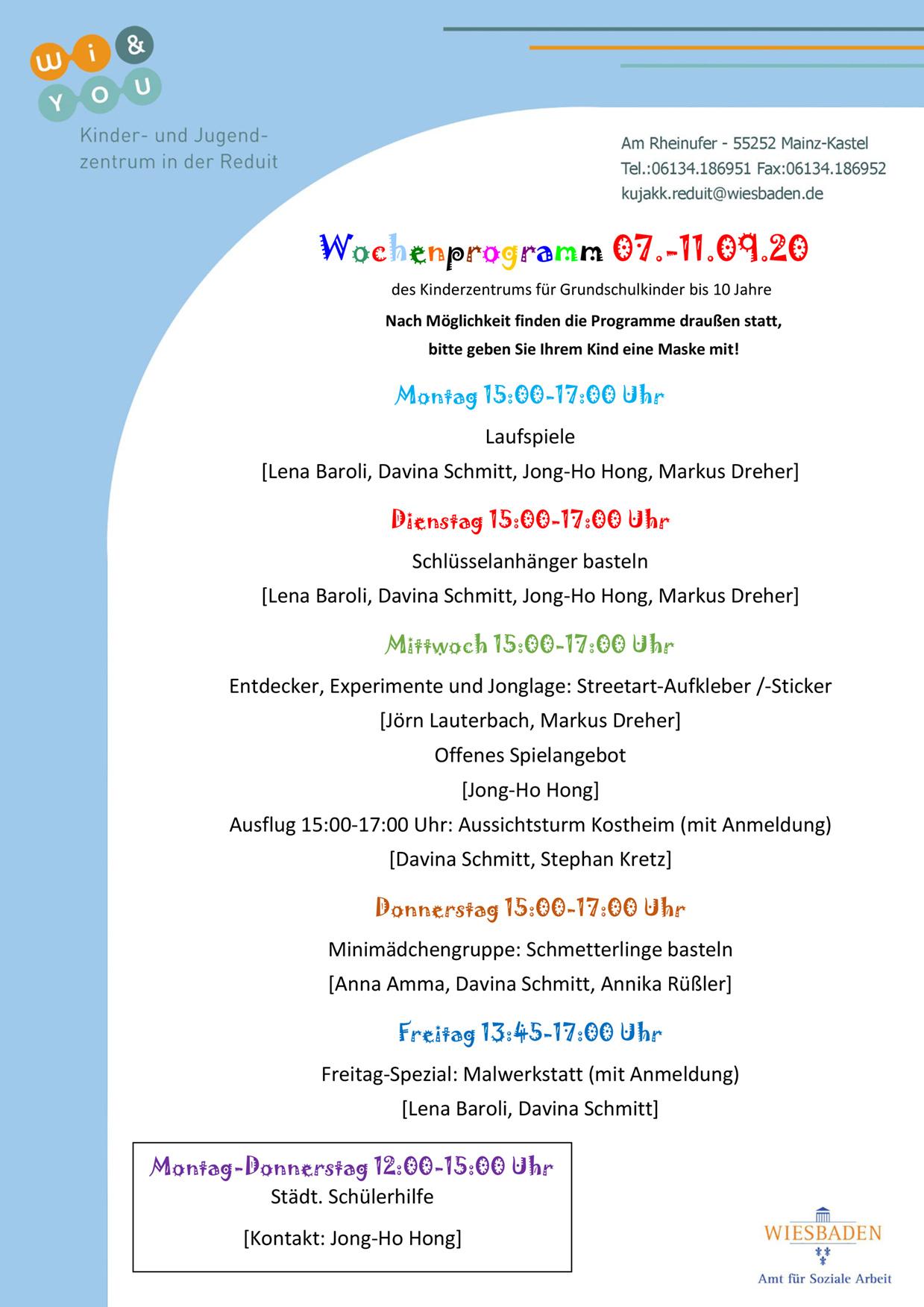 Wochenprogramm vom 07. bis 11. September 2020 des Kinderzentrums für Grundschulkinder bis 10 Jahre . kujakk . Kinder- und Jugendzentrum in der Reduit . Mainz-Kastel