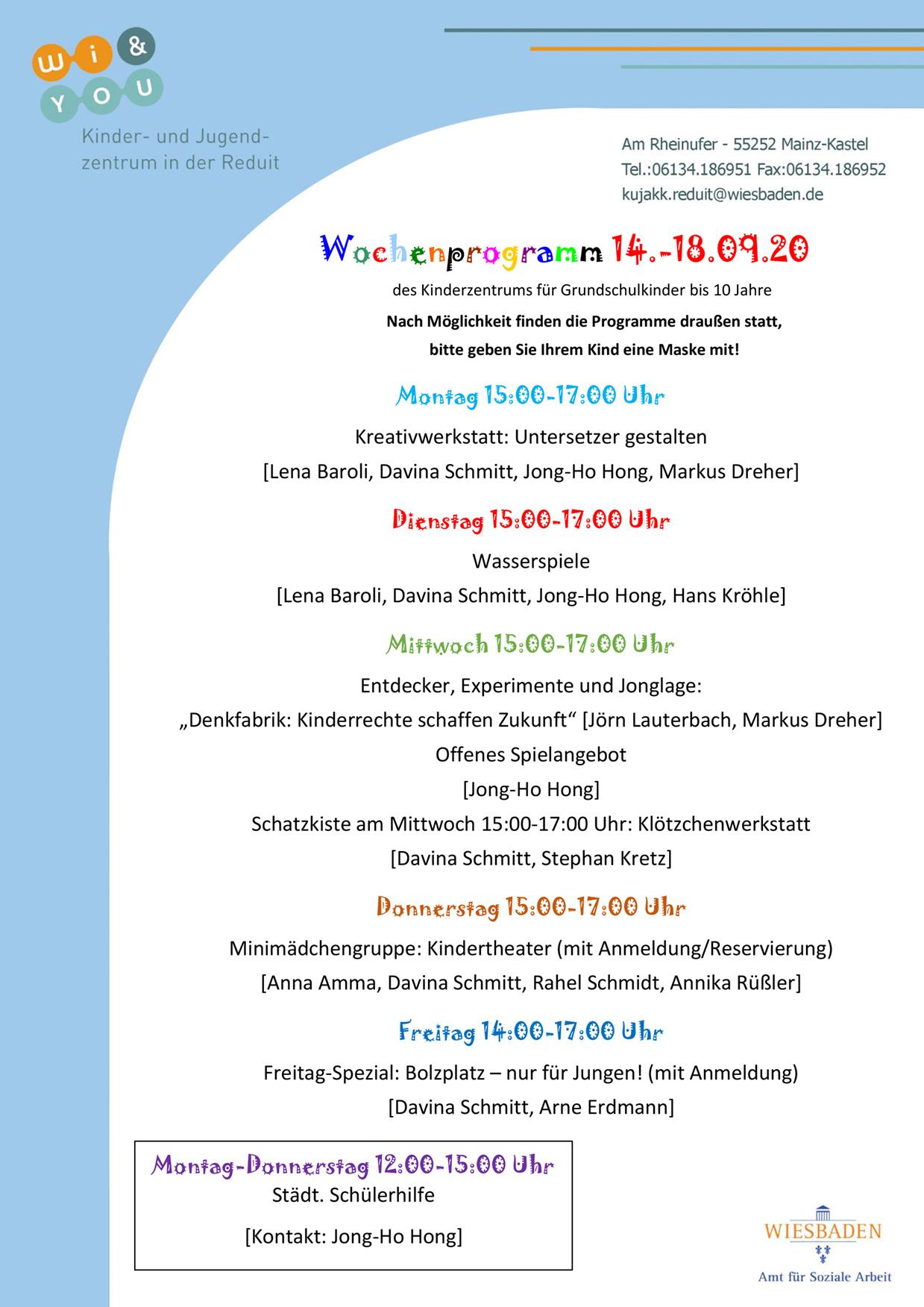 Wochenprogramm vom 14. bis 18. September 2020 des Kinderzentrums für Grundschulkinder bis 10 Jahre . kujakk . Kinder- und Jugendzentrum in der Reduit . Mainz-Kastel