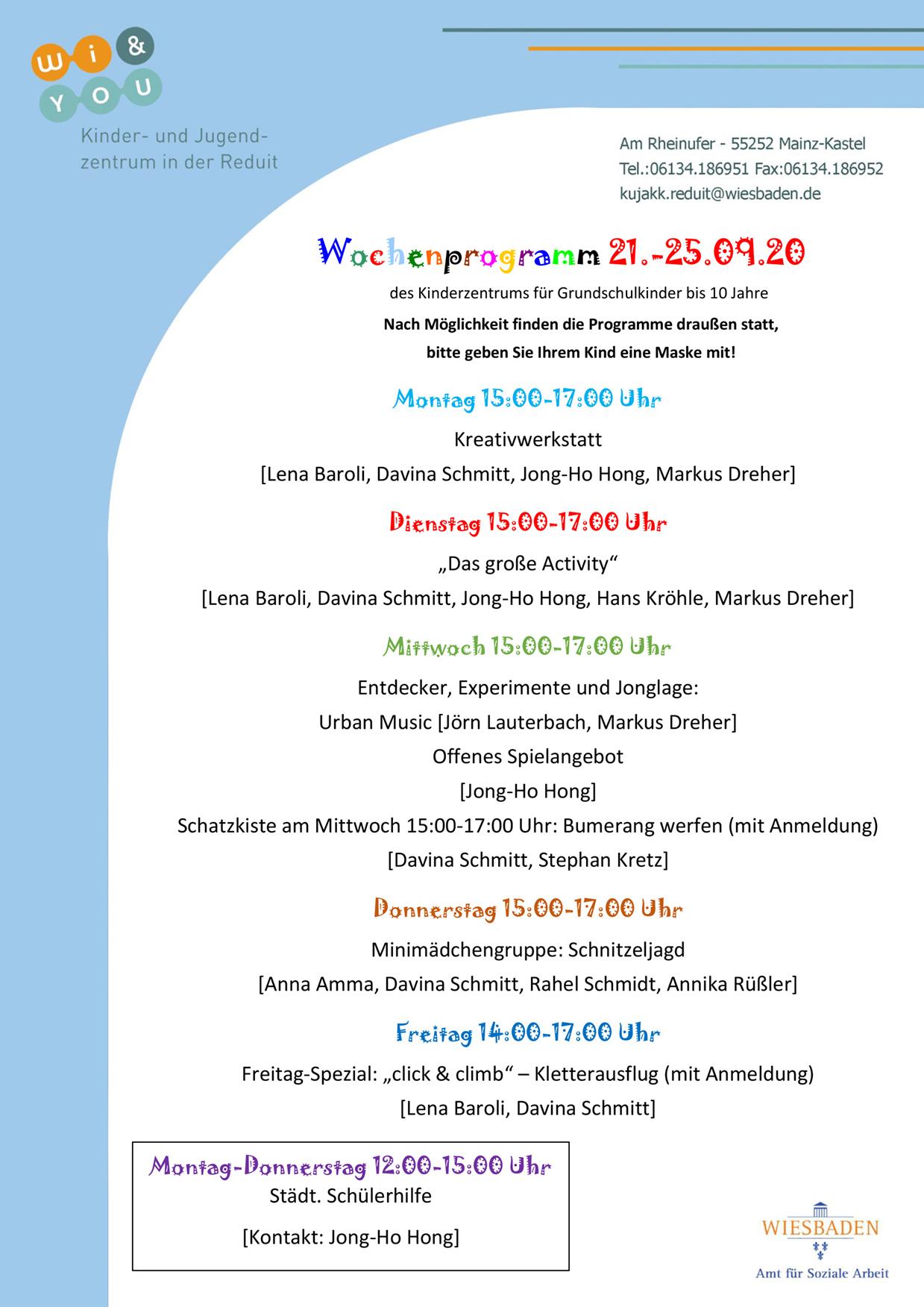 Wochenprogramm vom 21. bis 25. September 2020 des Kinderzentrums für Grundschulkinder bis 10 Jahre . kujakk . Kinder- und Jugendzentrum in der Reduit . Mainz-Kastel