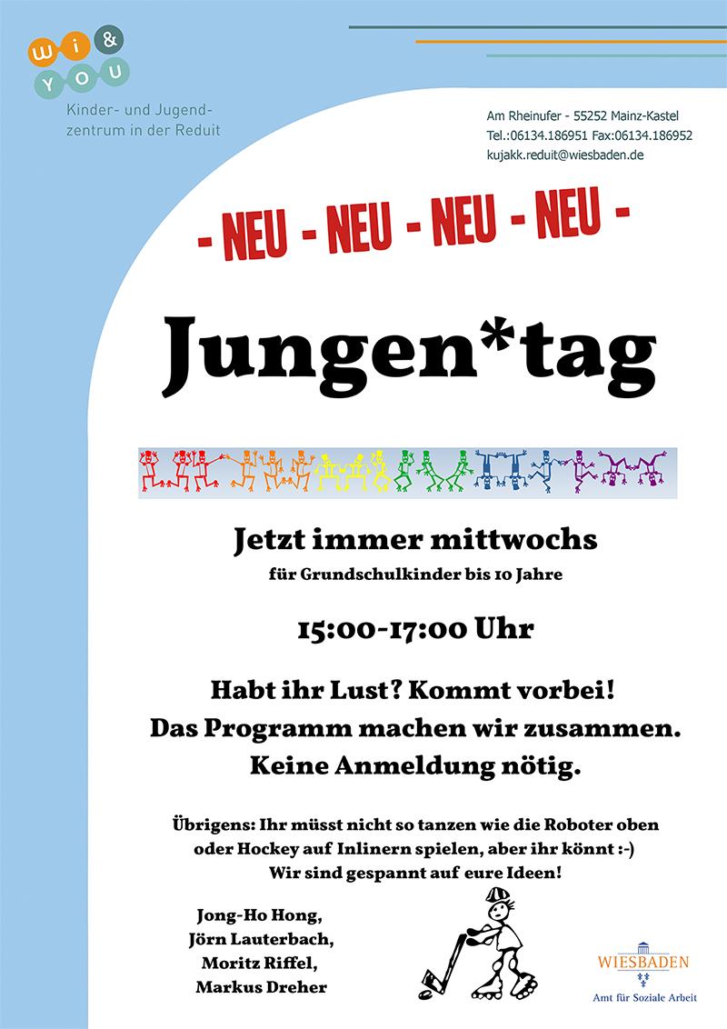 Jungen*tag . NEU ...immer mittwochs . ...ab Mittwoch, 1. September 2021 . kujakk . Kinder- und Jugendzentrum in der Reduit . Mainz-Kastel