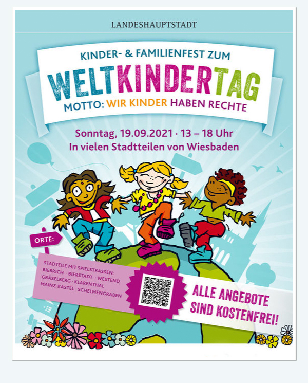 Kinder- und Familienfest zum Weltkindertag . Motto: Wir Kinder haben Rechte . Sonntag, 19. September 2021 . 13:00 bis 18:00 Uhr