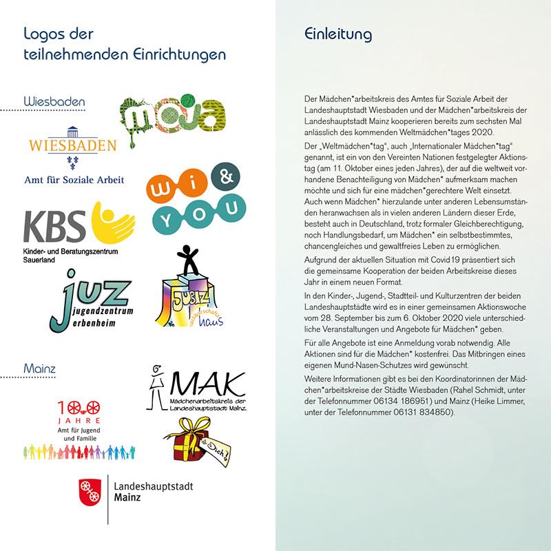 """WELTMÃ""""DCHEN*TAG 2020 . Chancengleichheit . Gewaltfreiheit . Selbstbestimmung . Aktionswoche vom 28. September bis 6. Oktober 2020 . in Mainz und Wiesbaden . kujakk . Kinder- und Jugendzentrum in der Reduit . Mainz-Kastel"""