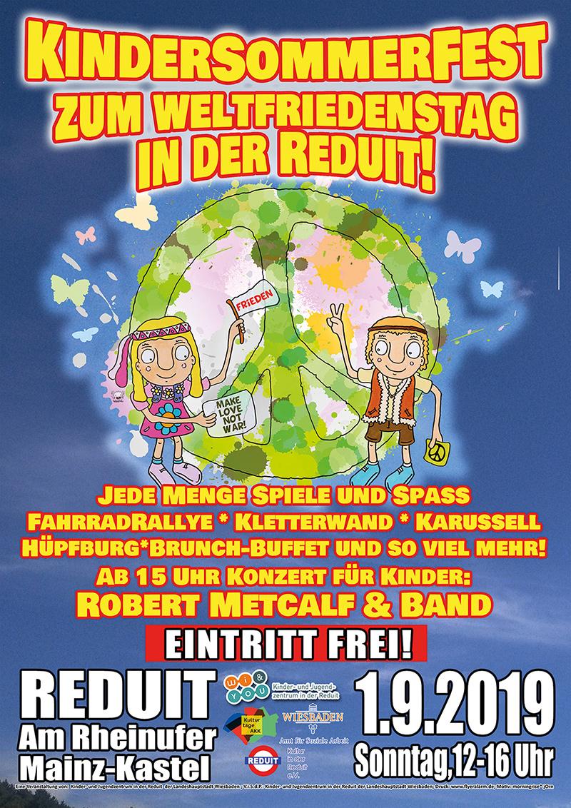 Kindersommerfest zum Weltfriedenstag in der Reduit . Sonntag, 1. September 2019 . 12:00 bis 16:00 Uhr . Eintritt frei! . Kinder- und Jugendzentrum in der Reduit . Mainz-Kastel