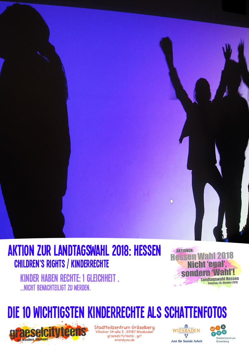 Die 10 wichtigsten Kinderrechte als Schattenfotos children's rights / Kinderrechte . 1 bis 5 . graeselcityteens . gct .  Stadtteilzentrum Gräselberg . Wiesbaden