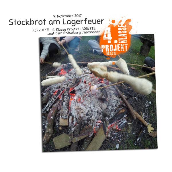 Stockbrot am Lagerfeuer . 4. Klasse Projekt BGS/STZ . Betreuende Grundschule / Stadtteilzentrum Gräselberg . Wiesbaden