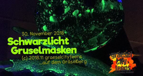 Schwarzlicht Grusel Masken . happy halloween 2018 . graeselcityteens .  Stadtteilzentrum Gräselberg . Wiesbaden