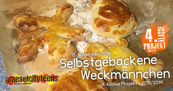 Selbstgebackene Weckmännchen . 4. Klasse Projekt BGS/STZ . Betreuende Grundschule / Stadtteilzentrum Gräselberg . Wiesbaden
