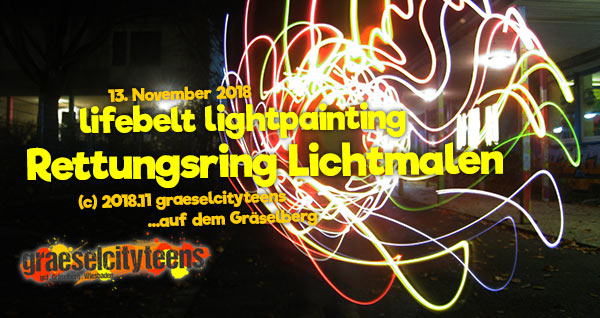 lifebelt lightpainting / Rettungsring Lichtmalen . graeselcityteens .  Stadtteilzentrum Gräselberg . Wiesbaden