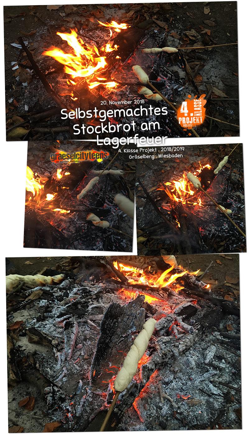Selbstgemachtes Stockbrot am Lagerfeuer . 4. Klasse Projekt BGS/STZ . Betreuende Grundschule / Stadtteilzentrum Gräselberg . Wiesbaden