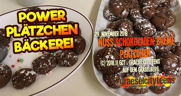 Power Plätzchen Bäckerei . Nuss Schokoladen Creme Plätzchen . graeselcityteens .  Stadtteilzentrum Gräselberg . Wiesbaden