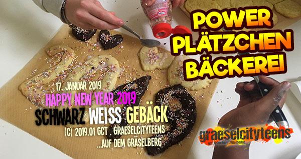 Power Plätzchen Bäckerei . happy new year 2019 . Schwarz Weiß Gebäck . graeselcityteens .  Stadtteilzentrum Gräselberg . Wiesbaden