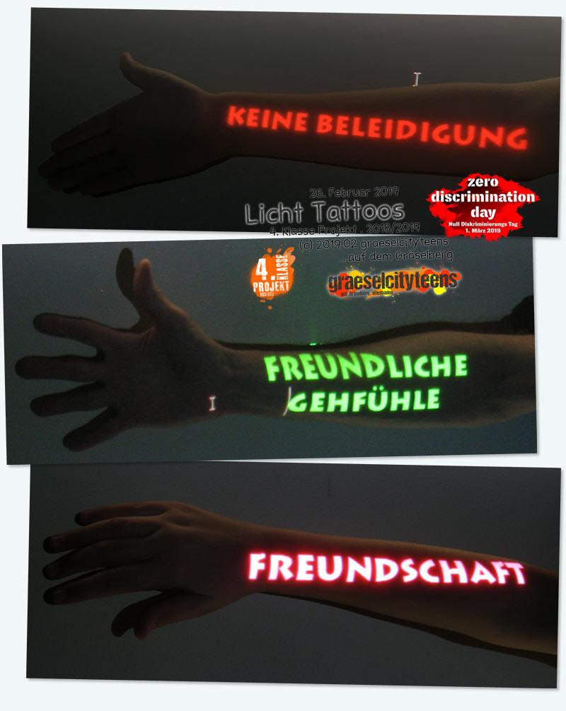 Licht Tattoos . zero discrimination day 2019 . 26. Februar 2019 . Kooperationsprojekt . 4. Klasse Projekt . graeselcityteens . Stadtteilzentrum Gräselberg . Wiesbaden