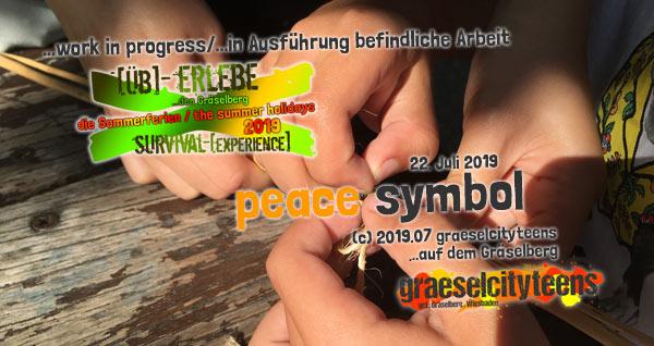 peace symbol . [Üb]-Erlebe ...den Gräselberg . die Sommerferien / the summer holidays . survival-[experience] . graeselcityteens . Stadtteilzentrum Gräselberg . Wiesbaden