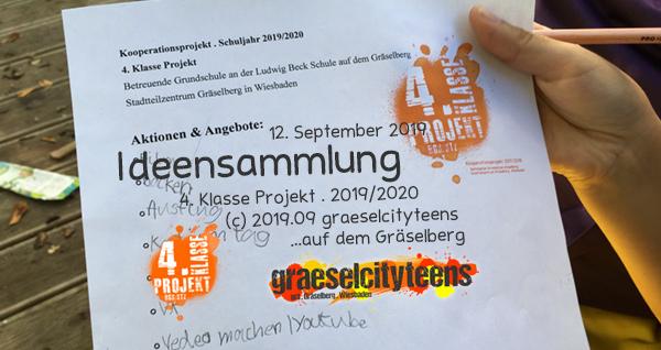 Ideensammlung . Was kann man alles in einem Jugendzentrum machen? . Kooperationsprojekt . 4. Klasse Projekt . graeselcityteens . 12. September 2019 . Stadtteilzentrum Gräselberg . Wiesbaden
