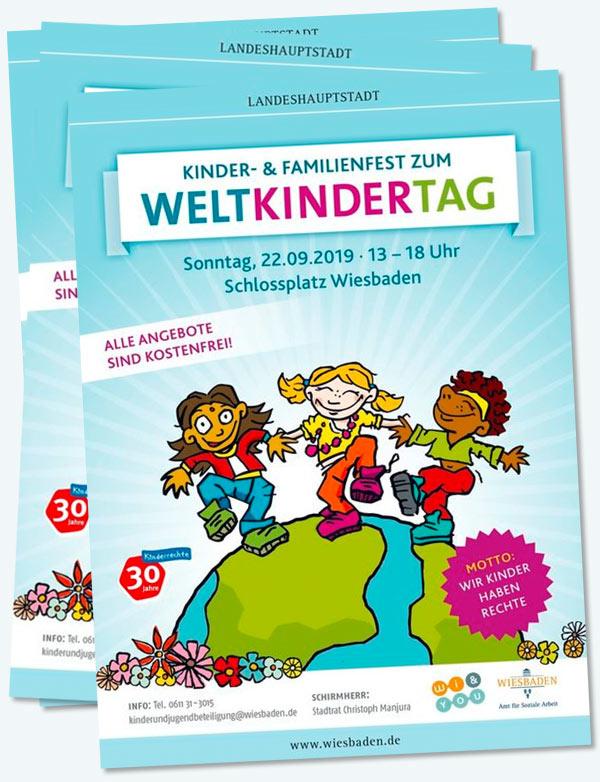 Flyer . Weltkindertagsfest 2019 . Kinder- & Familienfest zum Weltkindertag . Motto: Wir Kinder haben Rechte . Sonntag, 22. September 2019 . 13:00 bis 18:00 Uhr . Schlossplatz Wiesbaden