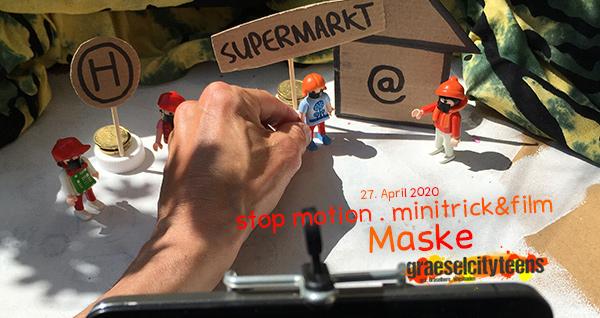 stop motion . minitrick&film . Maske . ...wie kannst du selbst einen kleinen stop motion Film aufnehmen? . 27. April 2020 . graeselcityteens . Balkon . Wiesbaden . planet earth