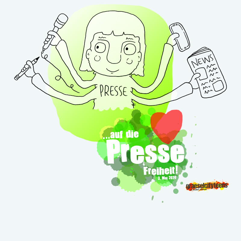 ...auf die PRESSE Freiheit! . Internationaler Tag der Pressefreiheit 3. Mai 2020 . graeselcityteens . ...auf dem Gräselberg . Stadtteilzentrum Gräselberg . Wiesbaden . planet earth