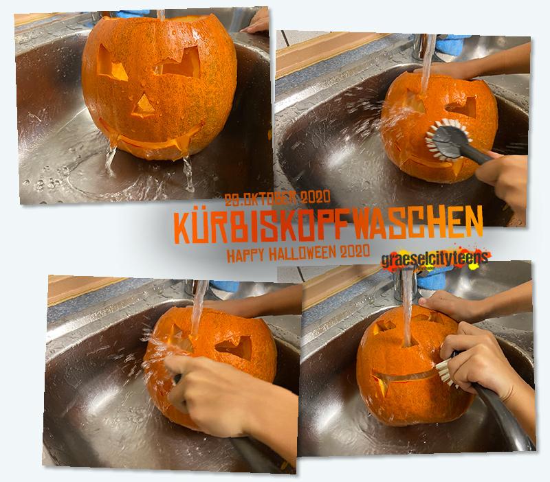 Kürbiskopfwaschen . happy halloween 2020 . ...schön sauber zu Halloween . 29. Oktober 2020 . gct . graeselcityteens ...auf dem Gräselberg . Stadtteilzentrum Gräselberg . Wiesbaden