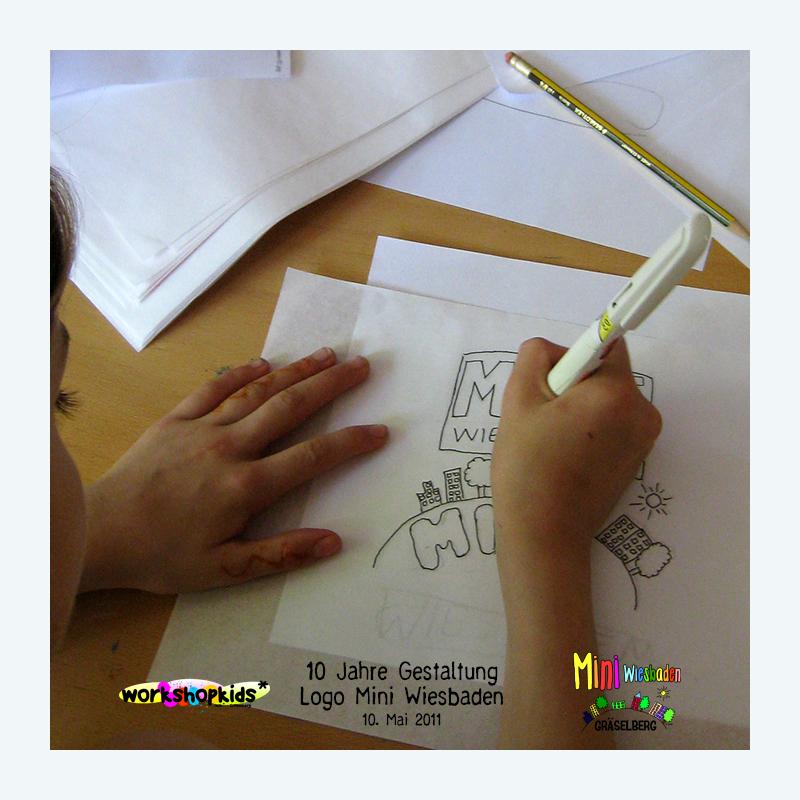 10 Jahre Gestaltung Logo Mini Wiesbaden . Mini Wiesbaden Gräselberg . Kinderspielstadt . Planspiel . Ferienprogramm . 10. Mai 2011 . workshopkids . ...auf dem Gräselberg . Stadtteilzentrum Gräselberg . Wiesbaden