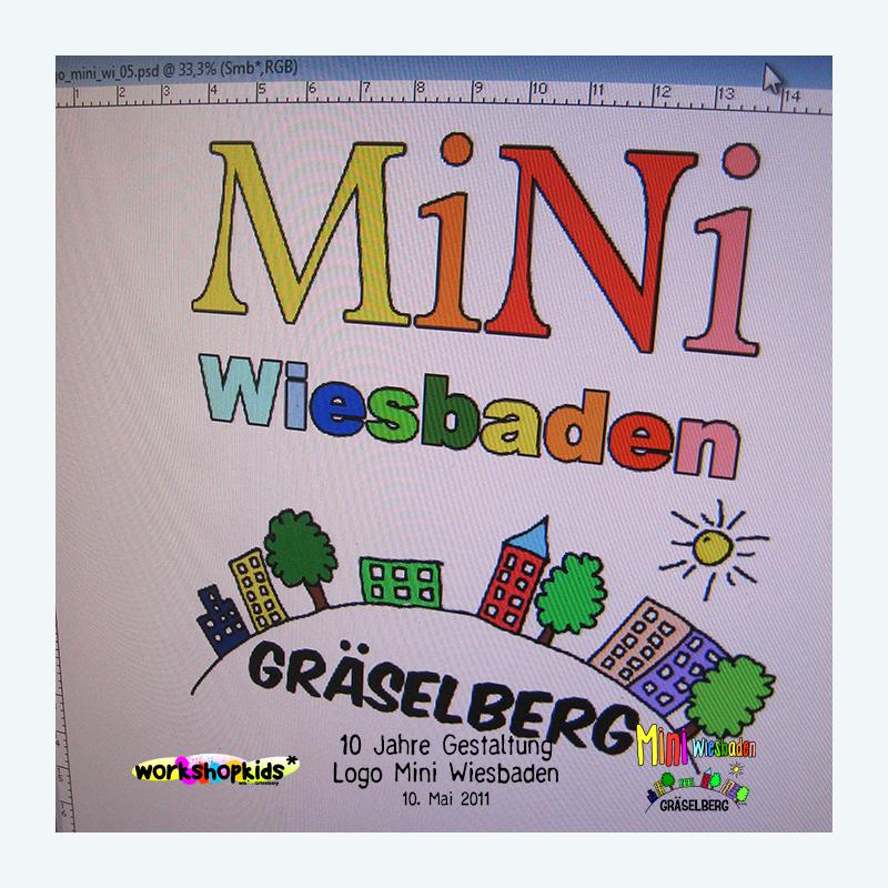10 Jahre Gestaltung Logo Mini Wiesbaden . Mini Wiesbaden Gräselberg . Kinderspielstadt . Planspiel . Ferienprogramm . 12. Mai 2011 . workshopkids . ...auf dem Gräselberg . Stadtteilzentrum Gräselberg . Wiesbaden